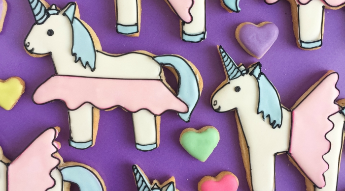 Cookies of unicorns wearing tutus made by Patti Paige for Sweety High