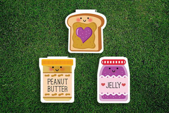 Peanut butter and jelly magnetic bookmark