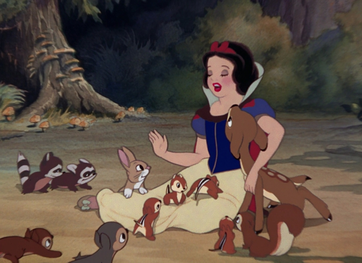 Snow White surrounded by woodland creatures