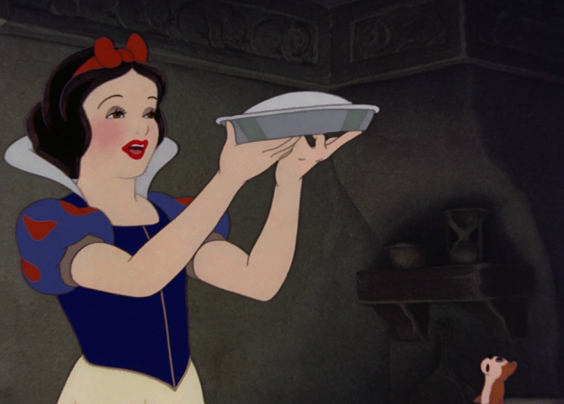 Snow White baking a pie