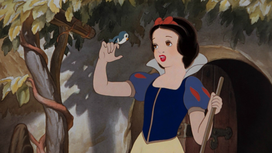 Snow White singing to a blue bird resting on her index finger