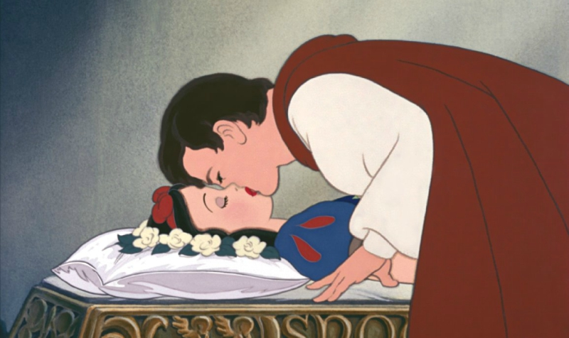 Prince Charming kissing Snow White to wake her up
