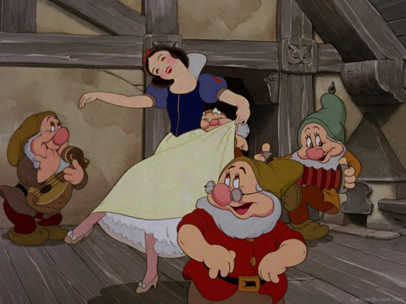 Snow White dancing with the seven dwarfs