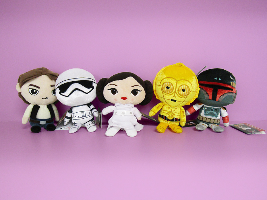 Star Wars Galactic Plushies: Han Solo, Stormtrooper, Princess Leia, C-3PO and Bobo Fett