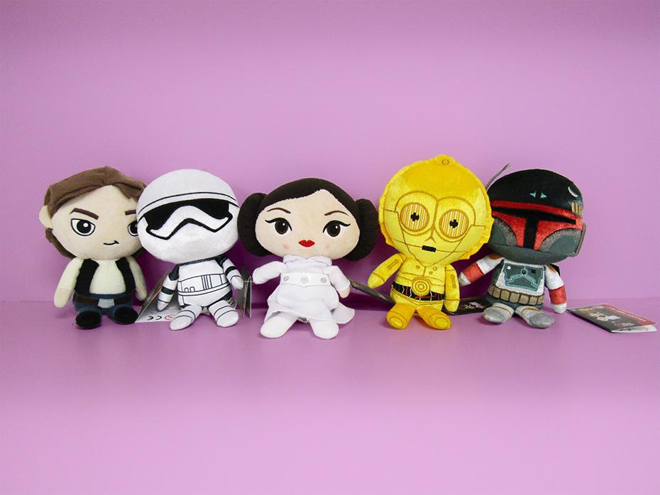 Star Wars Galactic Plushies: Han Solo, Stormtrooper, Princess Leia, C-3PO and Bobo Fett