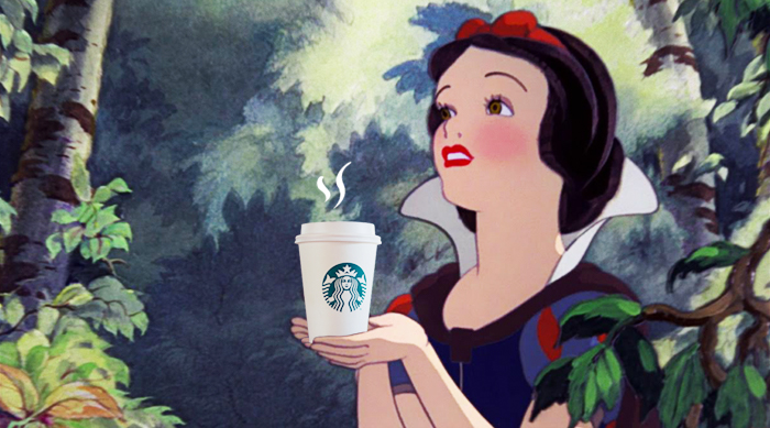 Snow White holding a Starbucks coffee cup
