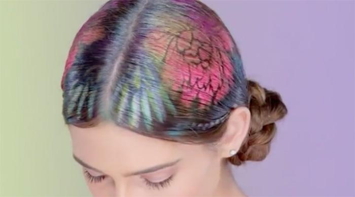 Rainbow stenciled floral hair