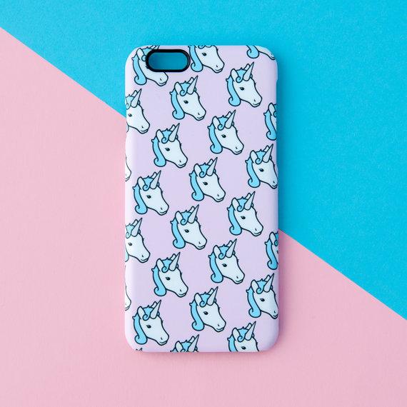 Pink and blue unicorn phone case