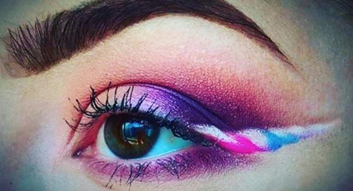 Unicorn eyeliner on girl