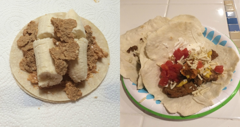 A side by side of a breakfast taco and hot dog taco