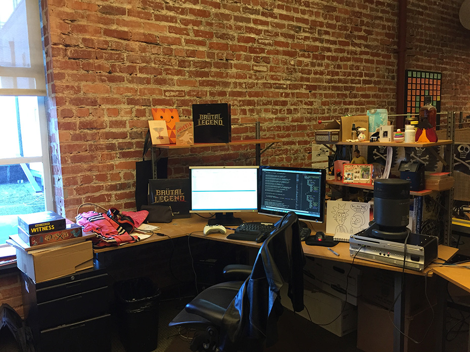 Double Fine gameplay programmer Anna Kipnis's desk