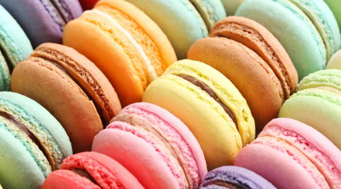 Assortment of brightly colored macarons