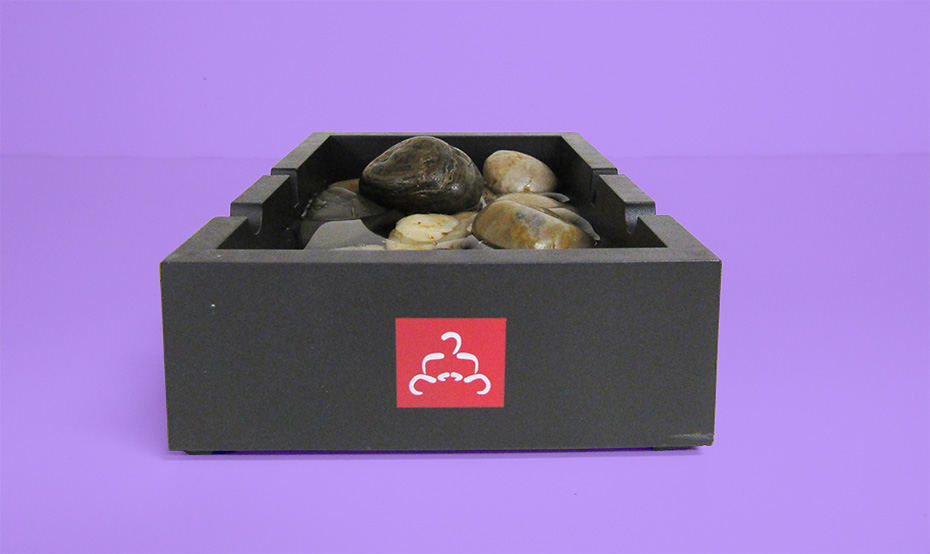 Buddha Board tray with rocks
