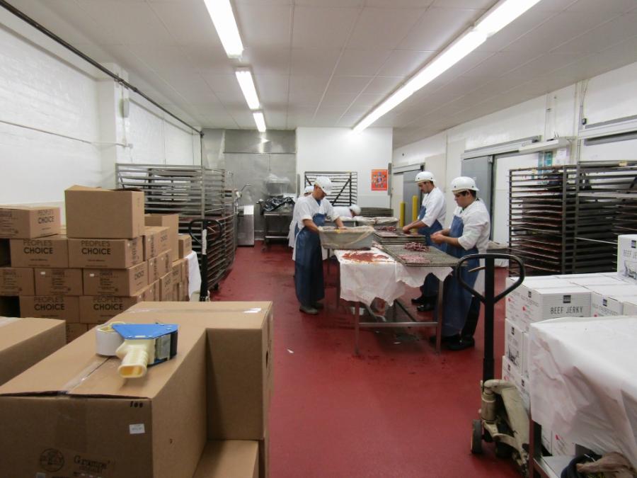 Beef jerky factory floor