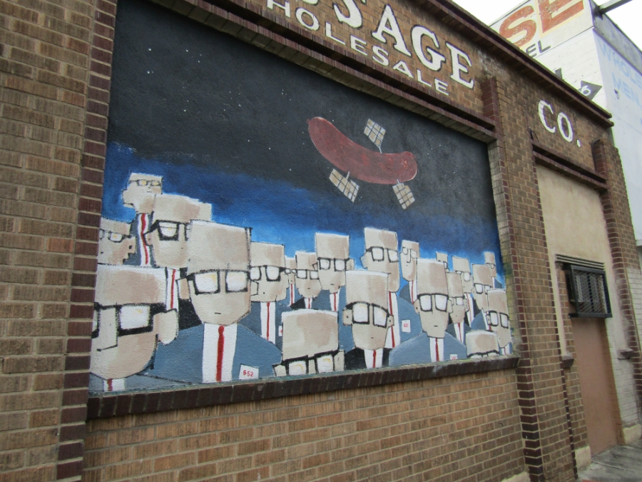 Giant brick mural