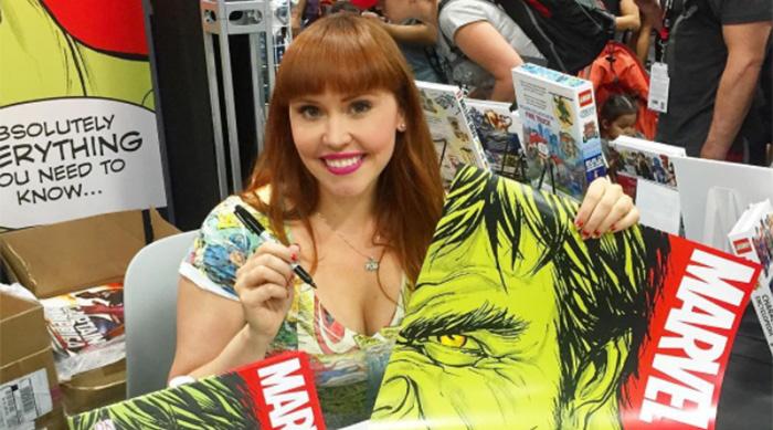 Marvel.com host Lorraine Cink signing Marvel books