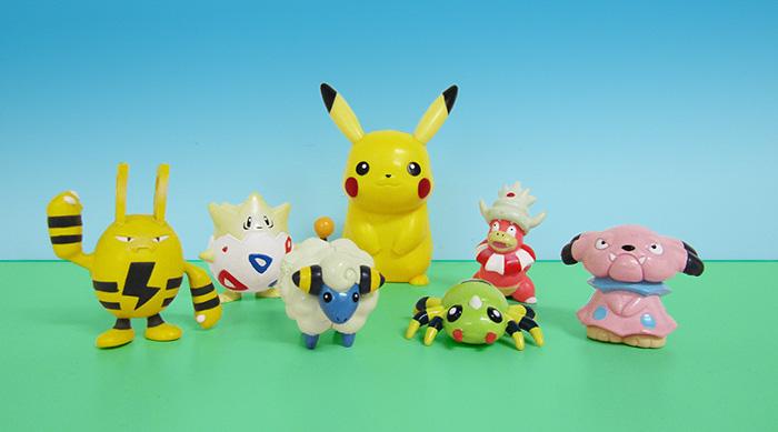 Pokémon toys: Pikachu, Elekid, Togepi, Mareep, Spinarak, Slowking and Snubbull