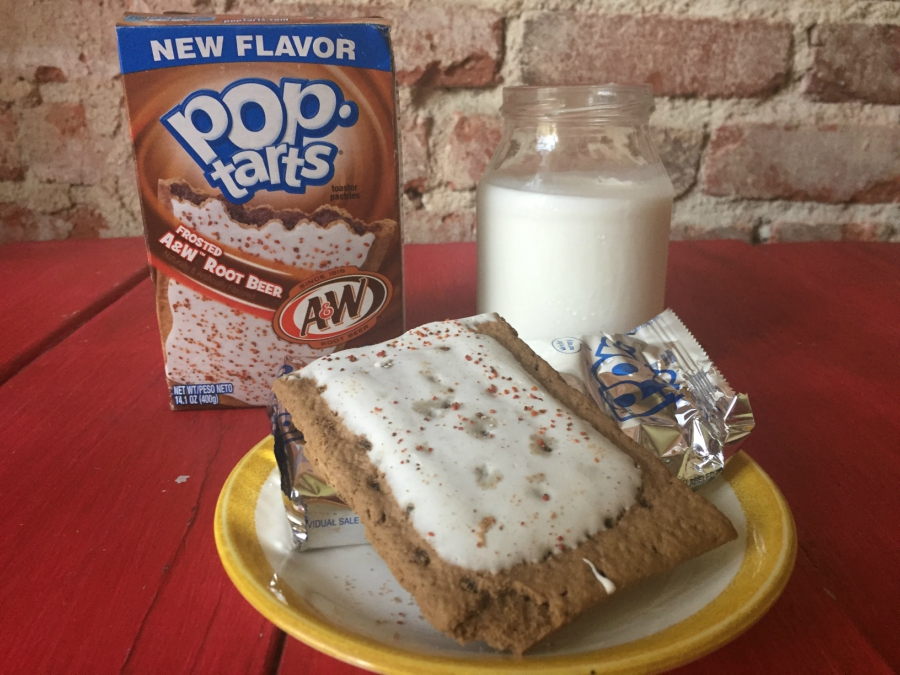 Root Beer Pop Tart with box and milk