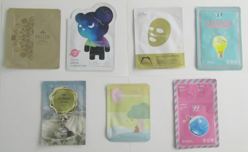 Seven different face masks from FaceTory's Seven Lux subscription box