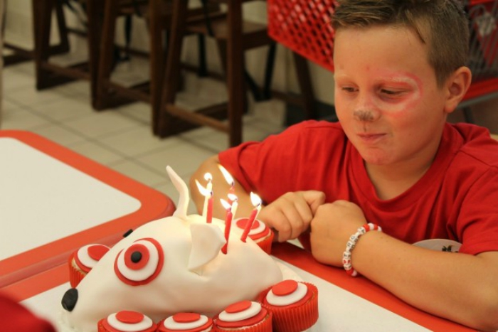 7-year-old Parker Cook celebrating his birthday in Target