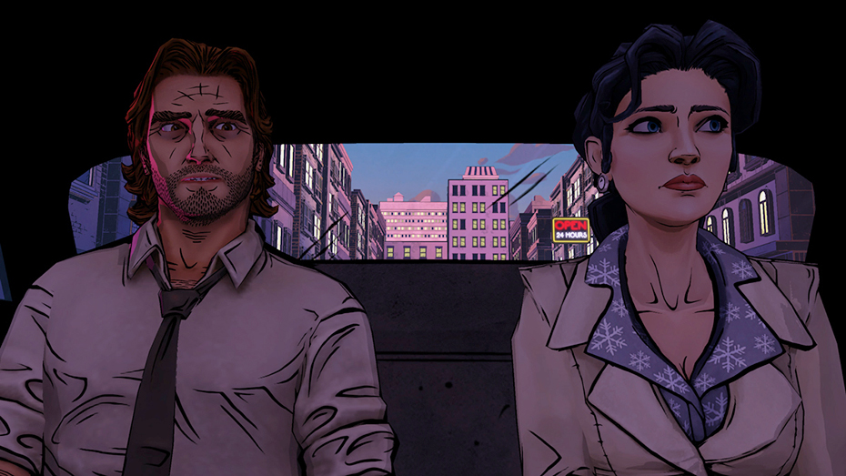 The Wolf Among Us: Bigby Wolf and Snow White share a taxi
