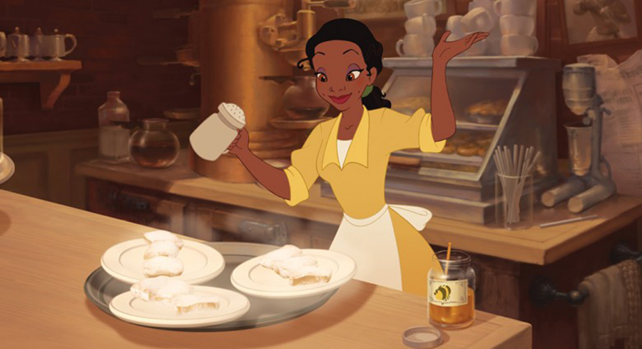 Tiana baking beignets in 'The Princess and the Frog'