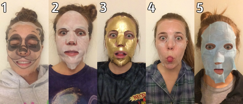 Girl wearing five different face masks