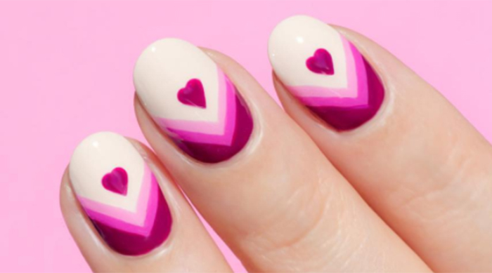 Pink heart Valentine's Day nails