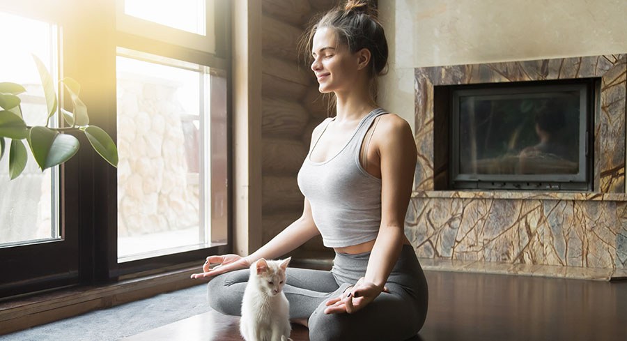 Girl in grey tank top and yoga pats meditating with her white cat in front of her