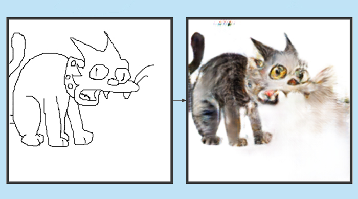 Snowball II from The Simpsons in Edges2Cats
