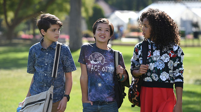 Three main characters of Disney Channel's new show Andi Mack at school