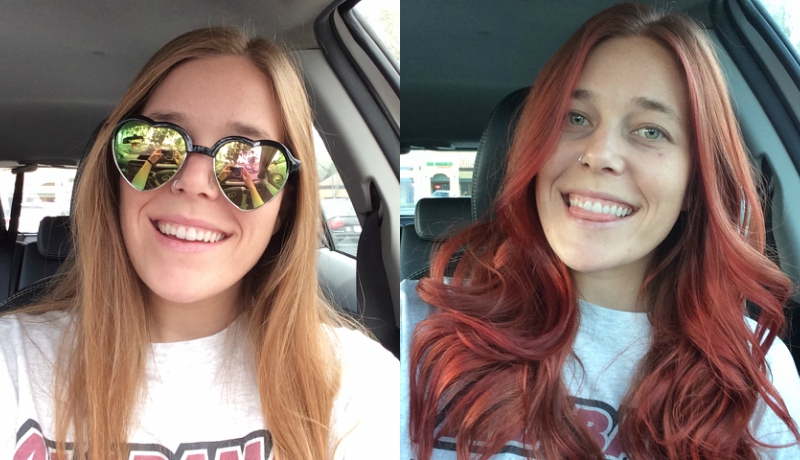 Girl's transformation from blonde hair to blorange hair