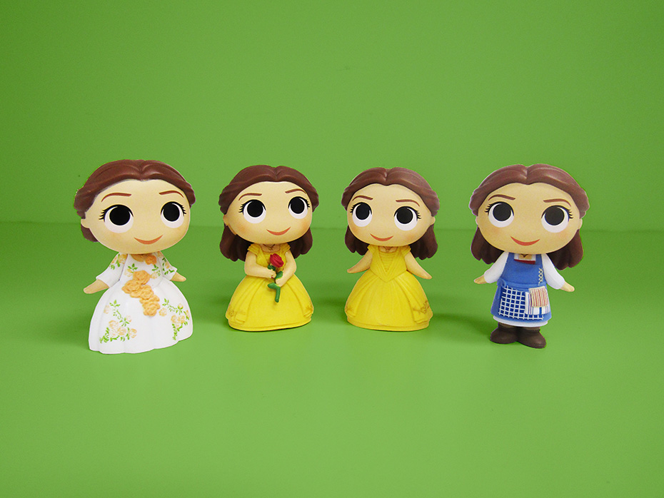 Beauty and the Beast Funko mystery minis vinyl figures belle in celebration dress, in yellow dress with rose and in blue dress