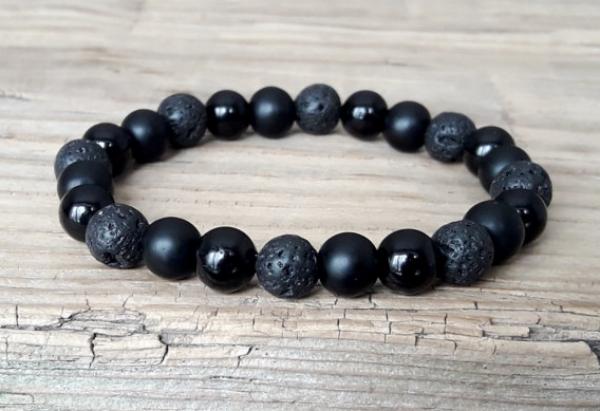 Black onyx power bead bracelet