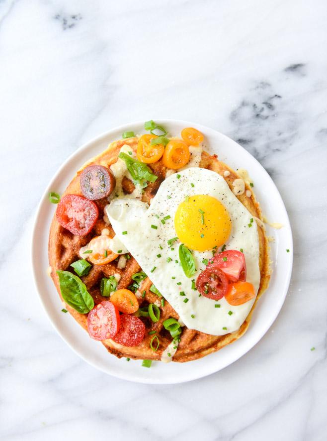 Cheddar cornbread and fried egg waffles