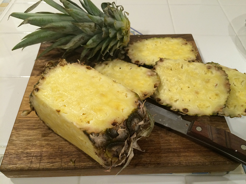 A cut up pineapple
