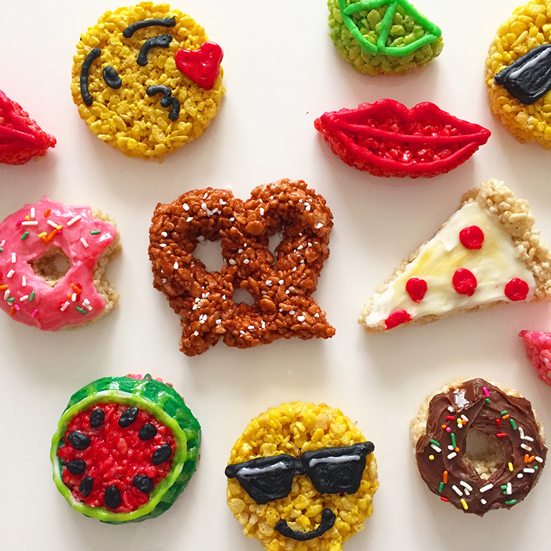 Emojis made of rice krispies treats