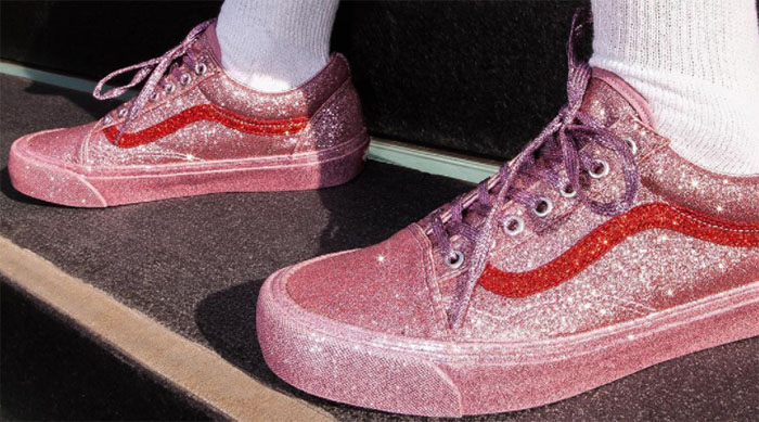 Closeup of glittery pink Vans