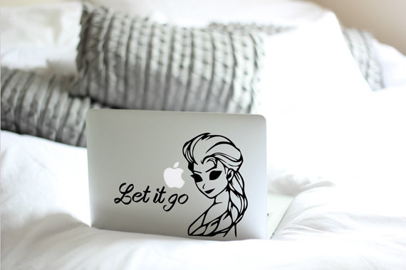Let It Go computer decal on a Mac computer