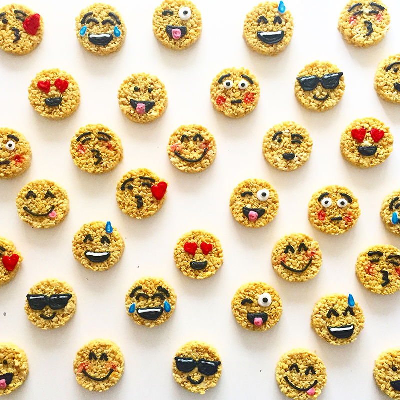 Emoji faces made of Rice Krispies Treats