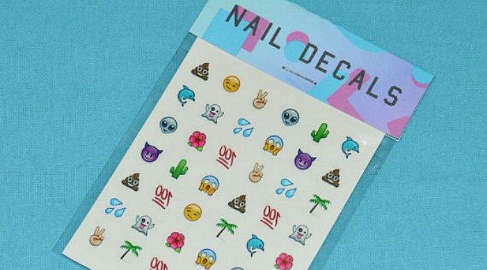 Mixed emoji nail decals