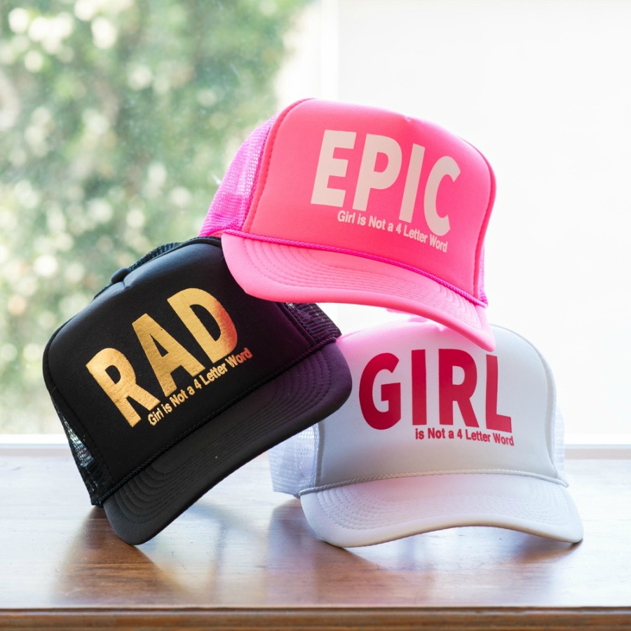 Epic, Rad, Girl hats from Girl is NOT a 4 Letter Word
