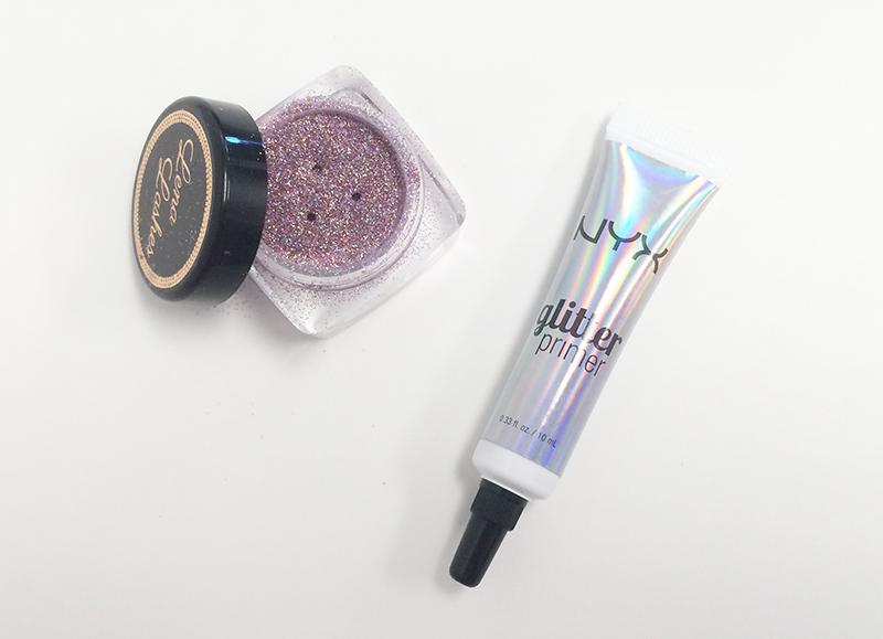 Purple glitter and NYX Cosmetics glitter primer