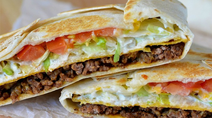 Homemade version of Taco Bell's Crunchwrap Supreme