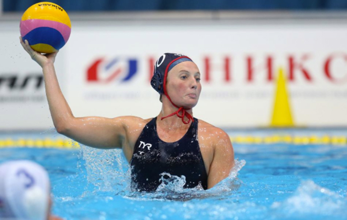 Olympic athlete Kaleigh Gilchrist playing water polo