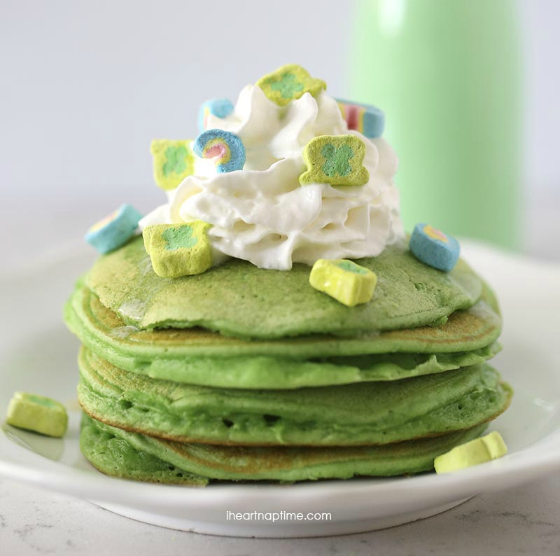 Green Lucky Charms topped pancakes