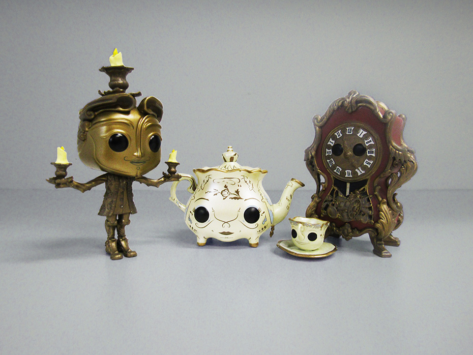 Beauty and the Beast Funko pop vinyl lumiere, mrs potts, chip and cogsworth