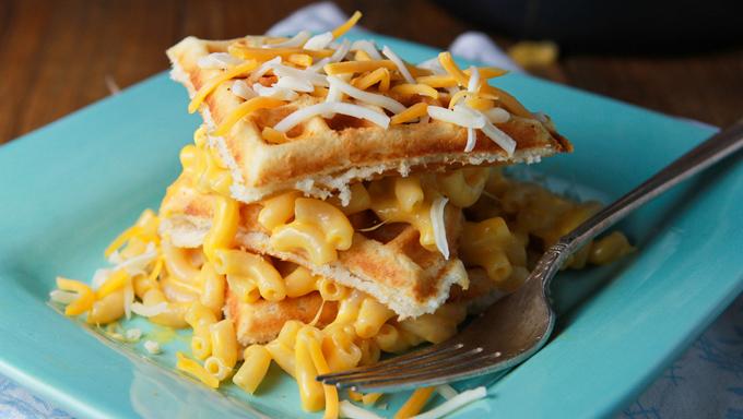 Mac and cheese waffles