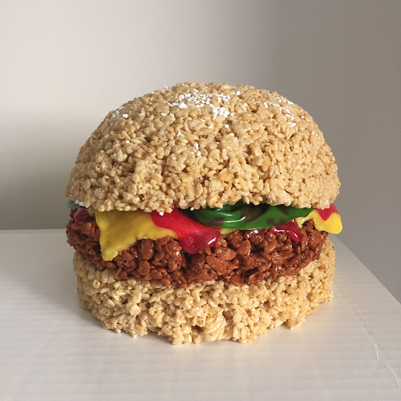 Hamburger made of Rice Krispies Treats