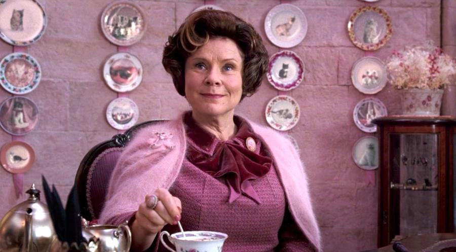 Harry Potter still of Dolores Umbridge drinking tea
